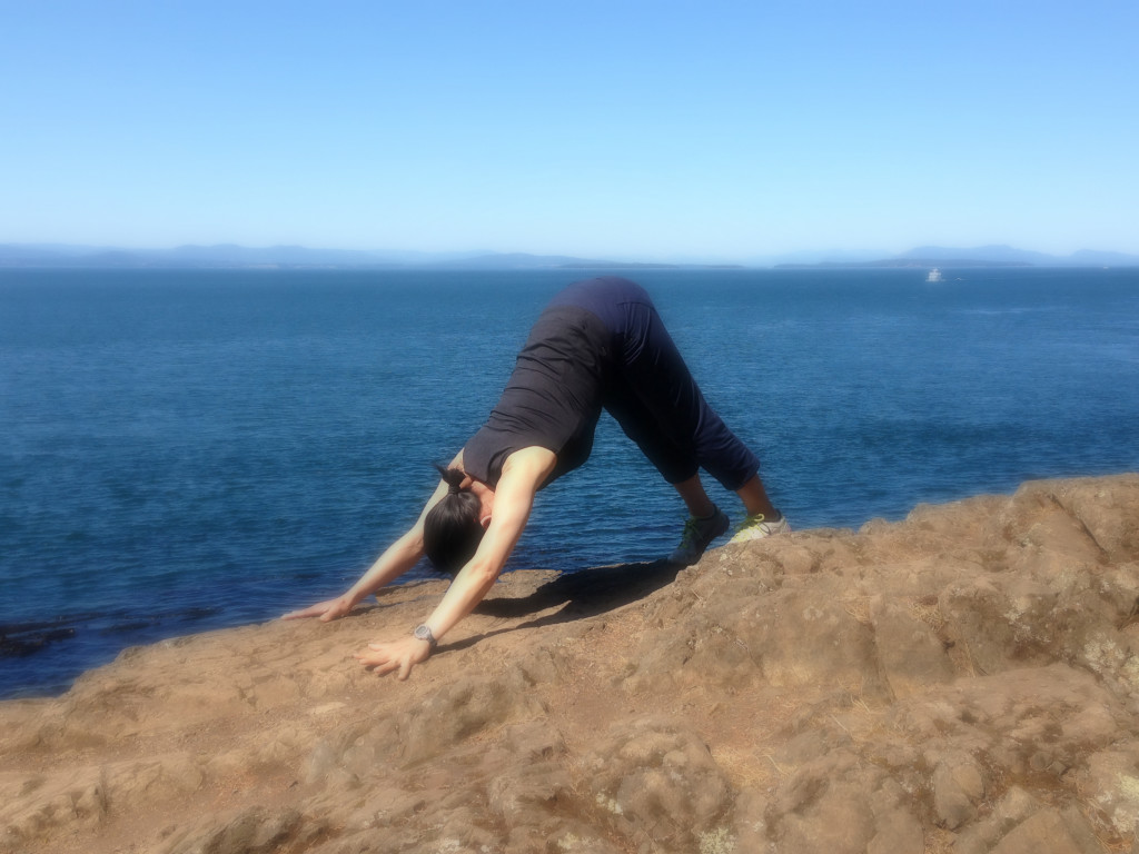downward dog at San Juan island 2015